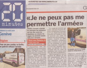 Article 20 minutes - Raphy's toll - 14 août 2009